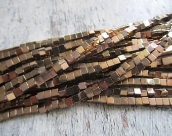 "4mm copper hematite cube beads - one full strand of copper tone hematite, copper hematite, 4mm hematite beads, 4mm cube beads, 16"" strand"
