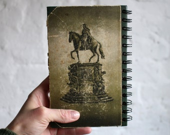 """Spiral Notebook Tartuensis College """"Columns"""", Vintage Upcycled Blank Book"""