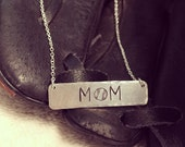 Baseball Mom Necklace - Sports Mom Necklace - Coach Gift - Gift For Mom - Mothers Day Gift - Hand Stamped Necklace - Silver Bar Necklace