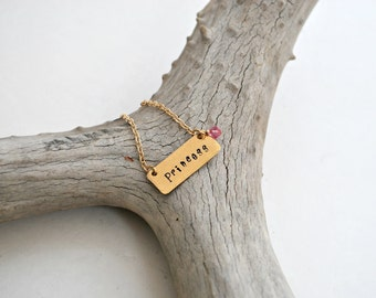 Princess Necklace - Little Girl Necklace - Gold Bar Necklace - Pink Swarovski Crystal - Hand Stamped Personalized