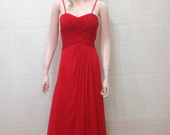 Red Prom Dress. Chiffon Dress. Long Bridesmaid Dress