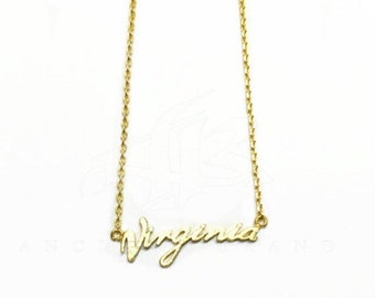 "Tiny Gold ""Virginia"" Necklace - Dainty, Simple, Birthday Gift, Wedding Bridesmaid Gift"