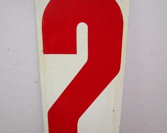 """HUGE 24"""" Vintage Metal Number 2 Sign Number TWO Sign Old Gas Station Number Red White Panel"""