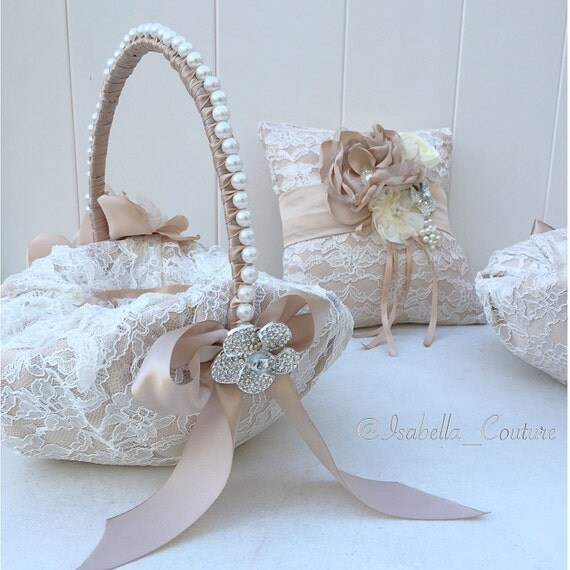 How To Make A Lace Flower Girl Basket : Items similar to flower girl basket lace