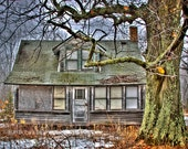 Fine Art, Photography, Barb Lassa, HDR, house, haunted, ghosts, spooky, fixer upper, print, winter, foggy