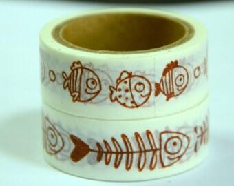 2 Rolls of Japanese Washi Tape: Fish and Fish Bone