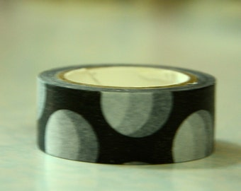 1 Roll Japanese Washi Masking Paper Tape - Big White Dots