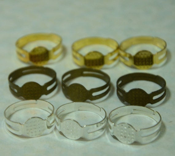 SALE 250 pcs Glue on Ring Findings (Silver, Bronze, Or Gold Plated)