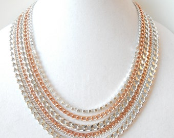 Rose Gold Statement Necklace silver statement jewelry rhinestone chain necklace REAL LOVE