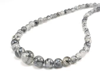 black rutilated quartz necklace,graduated  round bead necklace,round bead necklace,black necklace,quartz jewelry,quartz necklace