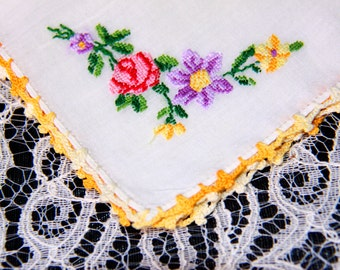 Vintage Handmade Handkerchief  with Embroidered  Flowers and Crochet Edges Made with White Cream Cotton Fabric - Signed Handkerchief
