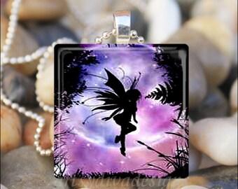 PURPLE FAIRY MOON Fantasy Pixie Forest Glass Tile Pendant Necklace Keyring