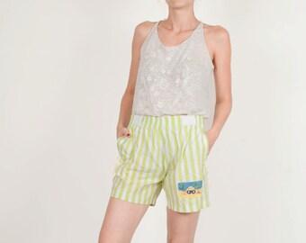 Vintage white green striped shorts beach woman size small