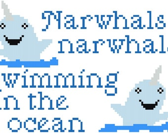 Narwhals Narwhals Swimming In The Ocean Cross Stitch Pattern