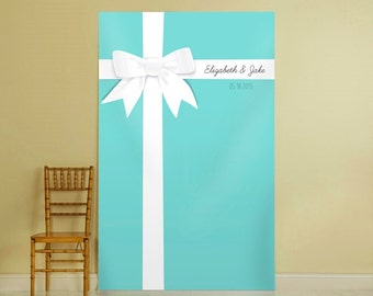 Personalized Photo Backdrop, Ceremony Background, Aqua Blue Wedding Decoration, Photo Booth Props