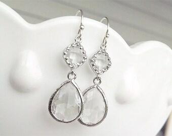 Crystal Clear Earrings in Silver - Bridesmaid Earrings - Clear Silver Earrings - Silver Crystal Bridal Earrings - Wedding Bridesmaid Jewelry