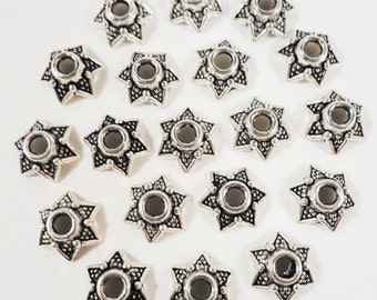 Silver Bead Caps 6mm Antique Silver Metal Star Bead Cap Beadcaps End Cap Jewelry Making Jewelry Findings Craft Supplies 75pcs