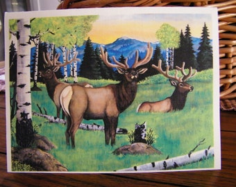Elk Art Greeting Card, Note Card, acrylic reproduction, wildlife art card