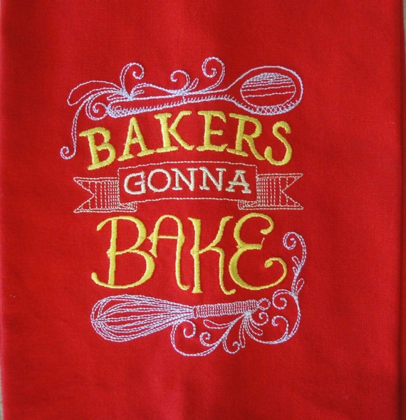 Clearance Priced Sassy Sayings Red Kitchen Towel Embroidered