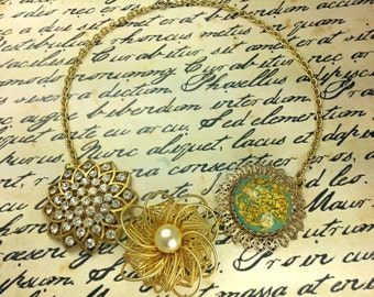 Vintage repurposed NECKLACE, gold tone, turquoise, pearl, and rhinestone, adjustable chain, choker, 40s, 50s floral, chunky filigree