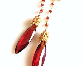 Brilliant red orange garnet marquis long gemstone earrings