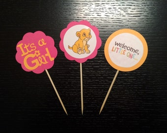 1 Dozen Baby Lion King Cupcake Toppers. Baby Shower. Gender Reveal