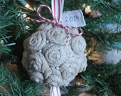 Christmas Ornament/Burlap Rose/Flower Ornament/Christmas/Holiday/Kissing Ball/Everyday Decor/Wedding/Topiary