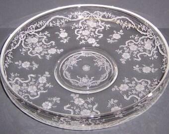 Fostoria Elegant Glass Crystal ROMANCE 11 1/2 Inch Diameter Shallow Lily Pond Cupped Center Piece Bowl