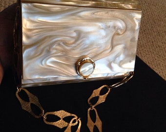 Vintage 1950's Stylecraft Golden Marblized Shell Clutch Handbag/Purse