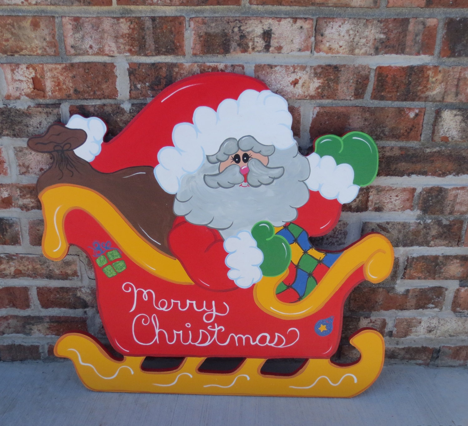 Christmas Carolers Wood Outdoor Yard Art By Chartinisyardart: Christmas Sleigh With Santa And A Bag Full Of By
