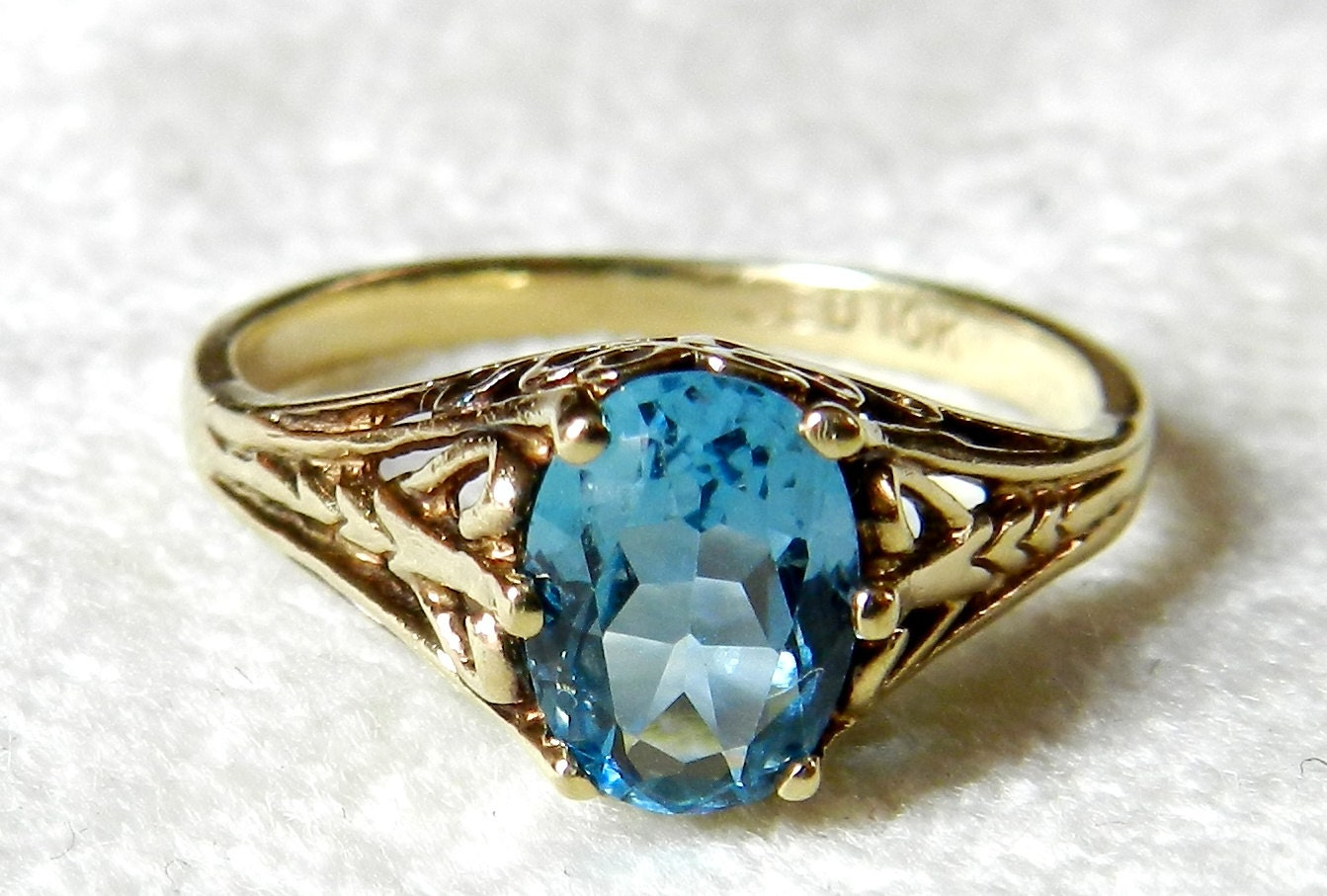 Engagement Ring Blue Topaz Filigree Vintage by LoveAlwaysGalicia