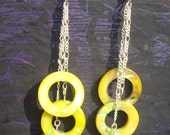 Abalone Shell Earrings Yellow Three Strand Dangle on Fine Chain Handmade