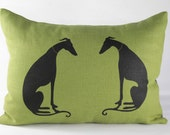 CUSTOM ORDER Hand printed Facing Greyhound illustrated decorative pillow, on lime green linen.