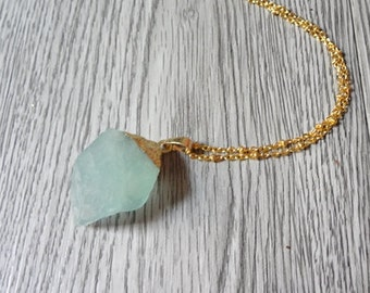Irregular Green FLuorite  Rough Pendant  Necklace Raw Gemstone Necklace