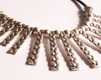 AUTHENTIC bib NECKLACE boho bohemian jewelry silver plated black leather necklace gypsy hippie ethnic style braiding necklace gift idea