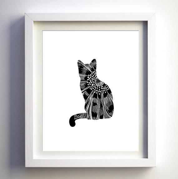 Items similar to cat print wall art decor black and white for Black and white mural prints