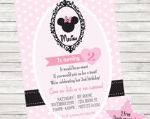 Light Pink Minnie Mouse Invitation, thank you card, design and print out  from party lovers shop