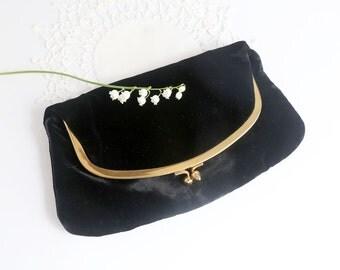 Vintage Black Velvet Evening Bag, Mel-Ton Clutch Purse, Mid Century Black Evening Bag, Black Wedding Purse, Fold Over Clutch Purse