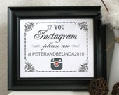 PERSONALIZED 8 x 10 Vintage Look Social Media Photo Sharing Print -Personalize w/Your Hashtag - Brown Kraft or White (Style: INSTAGRAM)