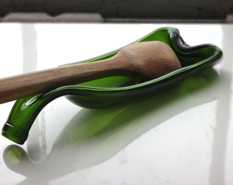 Melted Green Wine Bottle Spoon Rest - Recycled Glass