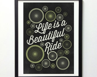 "Motivational Print ""Life Is A Beautiful Ride"" Vintage Signs, Bicycle Wall Art, Inspirational print, Typography Print, Quote Prints"