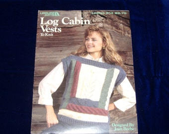 BOOK SALE - Log Cabin Vests To Knit, Leaflet 814 from Leisure Arts, 1989, Vintage Knitting Patterns