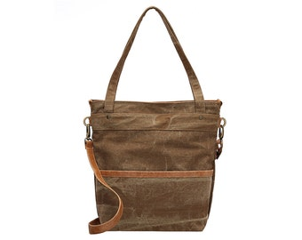 Waxed canvas bag - Waxed canvas tote bag - Taupe canvas bag - LARYS - SALE