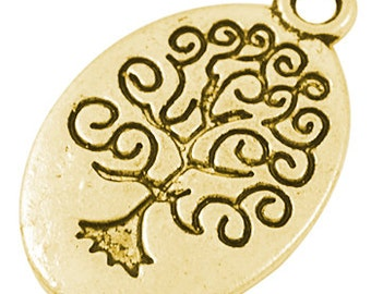 Tree Charms Tree of Life Charms Bulk Charms Wholesale Charms Antiqued Gold Oval Tree 50 pieces