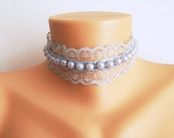 Blue-Gray Lace necklace choker // Blue-Gray Lace choker, Wedding Pearl Bridal Necklace, Bridesmaid Necklace, Fabric jewelry for bride gift