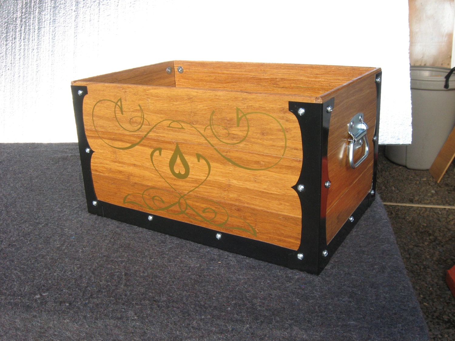 Decorative Kindling Box : Decorative wooden tool crate hearth kindling box by