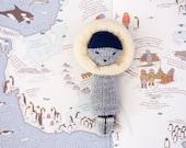 Hand Knit Eskimo  Doll,  Plush Doll,  Knitted Stuffed Doll, Stuffed Toy,  Knit Toy, Kids Toy , Children Toy, Knit Doll Eskimo