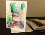 Batman Valentine's Day Card Blank Card / 5x7 inch watercolor print nerd geek girl guy dork dc comics
