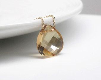 Dainty Gold Crystal Necklace-Swarovski Crystal Necklace in Gold Filled-Champagne Crystal Necklace-Bridesmaid Gift-Bridesmaid Necklace