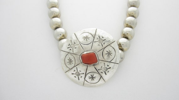 Coral  And Silver  Native American Shield Necklace With 2  Beaded  Strands  15 Inchers